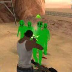 Green Aliens in Desert.