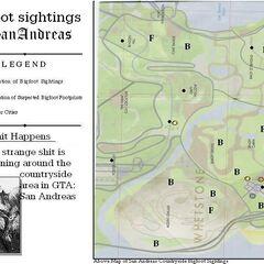GTA SA map of Bigfoot sightings & footprints.