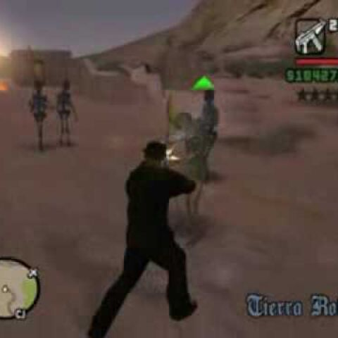 CJ battling skeletons.