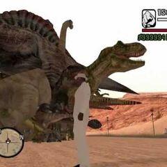 Dinosaurs in the desert.