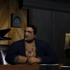 A dead body on a hook in a meat locker behind Sonny.
