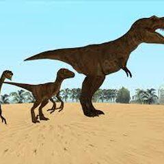 Tyrannosaur, Raptor and Raptor-like Dinosaur on Sand.