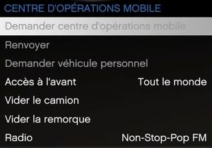 Centre d'opérations mobile - GTA Online (menu Interaction)