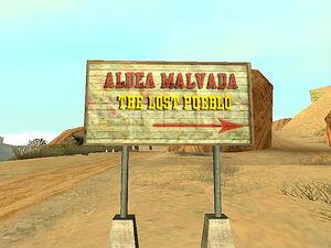 Aldea Malvada GTA San Andreas (panneau)