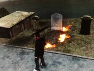 Niko burn Derrick McReary's tombstone