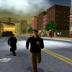 ملصق شركة زايباتسو في اقصى اليمين في نسخة اللعبة التجريبية. حذف الملصق من النسخة النهائية