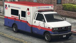 Ambulance M.R.S.A. GTA V (vue avant)