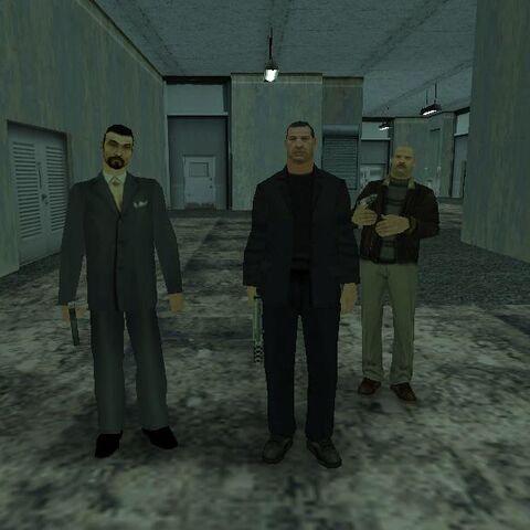 ثلاث نماذج لشخصيات المافيا الروسية ويُلاحظ رئيس المافيا المحذوف في أقصى اليسار