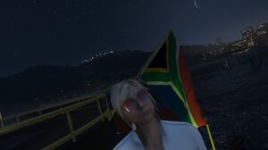 South African flag on yacht