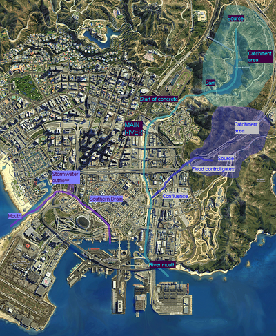 Los Santos Storm Drain GTAV Map Annotated