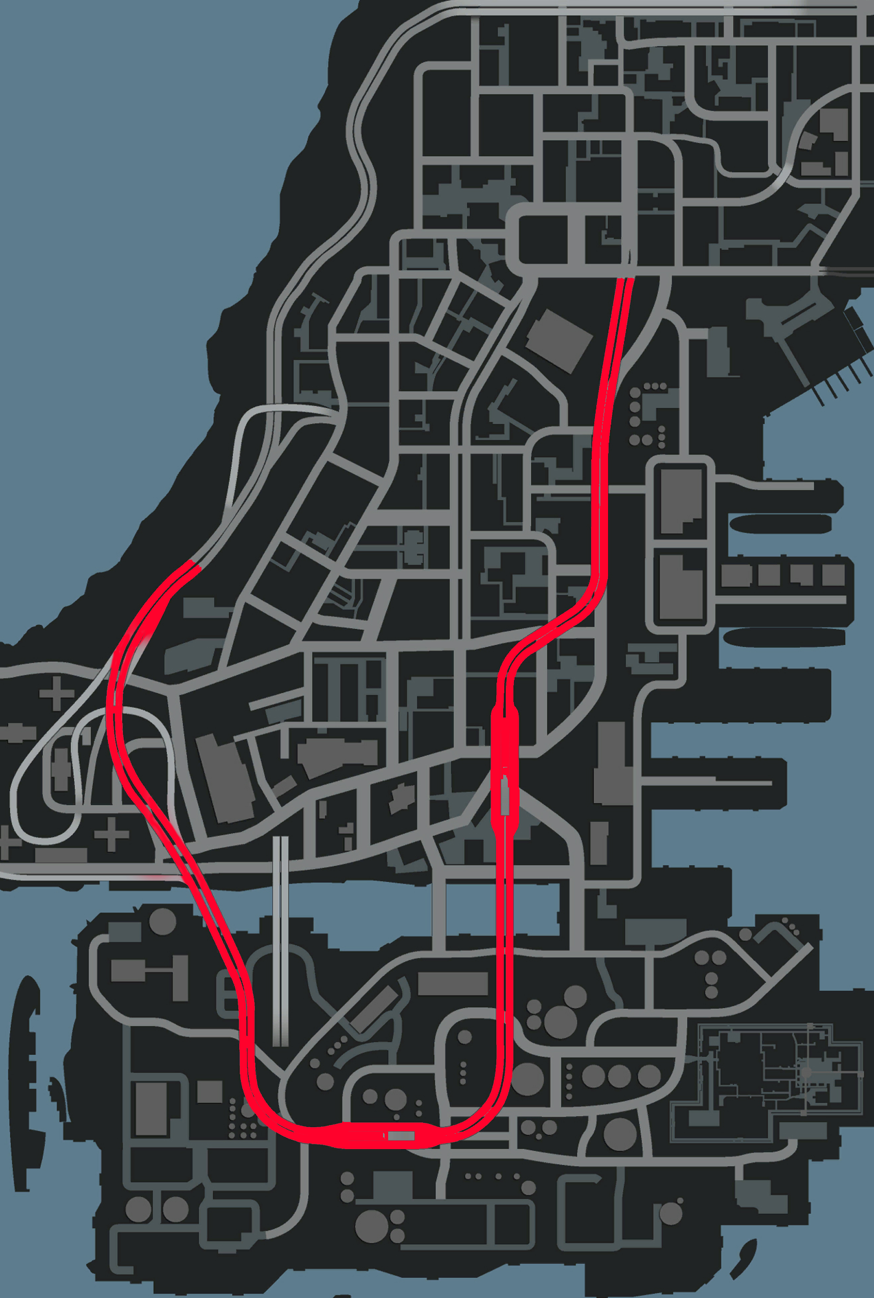 The Plumbers Skyway marked on the map