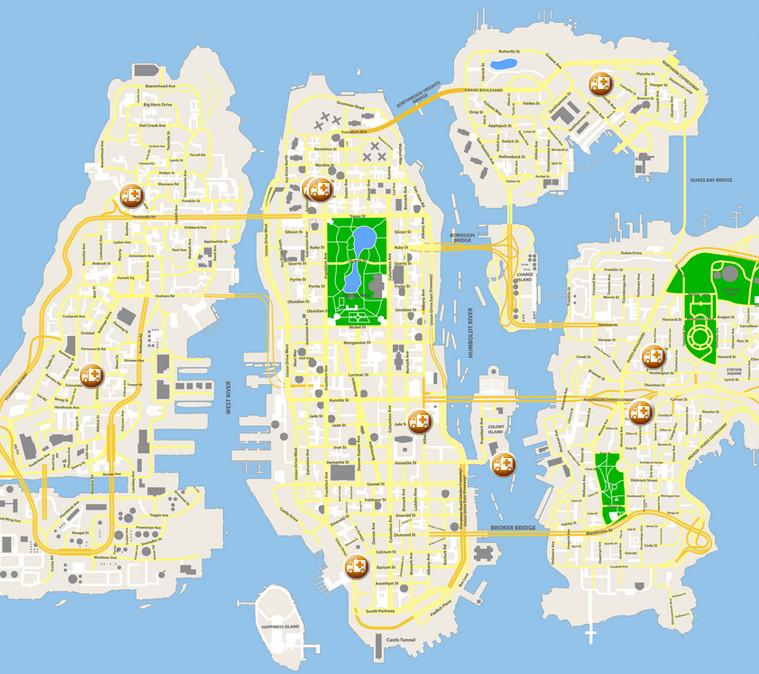 Gta 4 Karte.Hospitals Gta Wiki Fandom Powered By Wikia