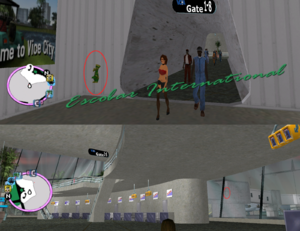 GTAVC HiddenPack 97 NW corner at S end of passenger bridge walkway, gates 1-8, 2nd floor in terminal