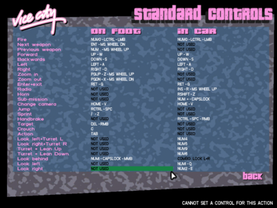Controls for GTA Vice City-PC