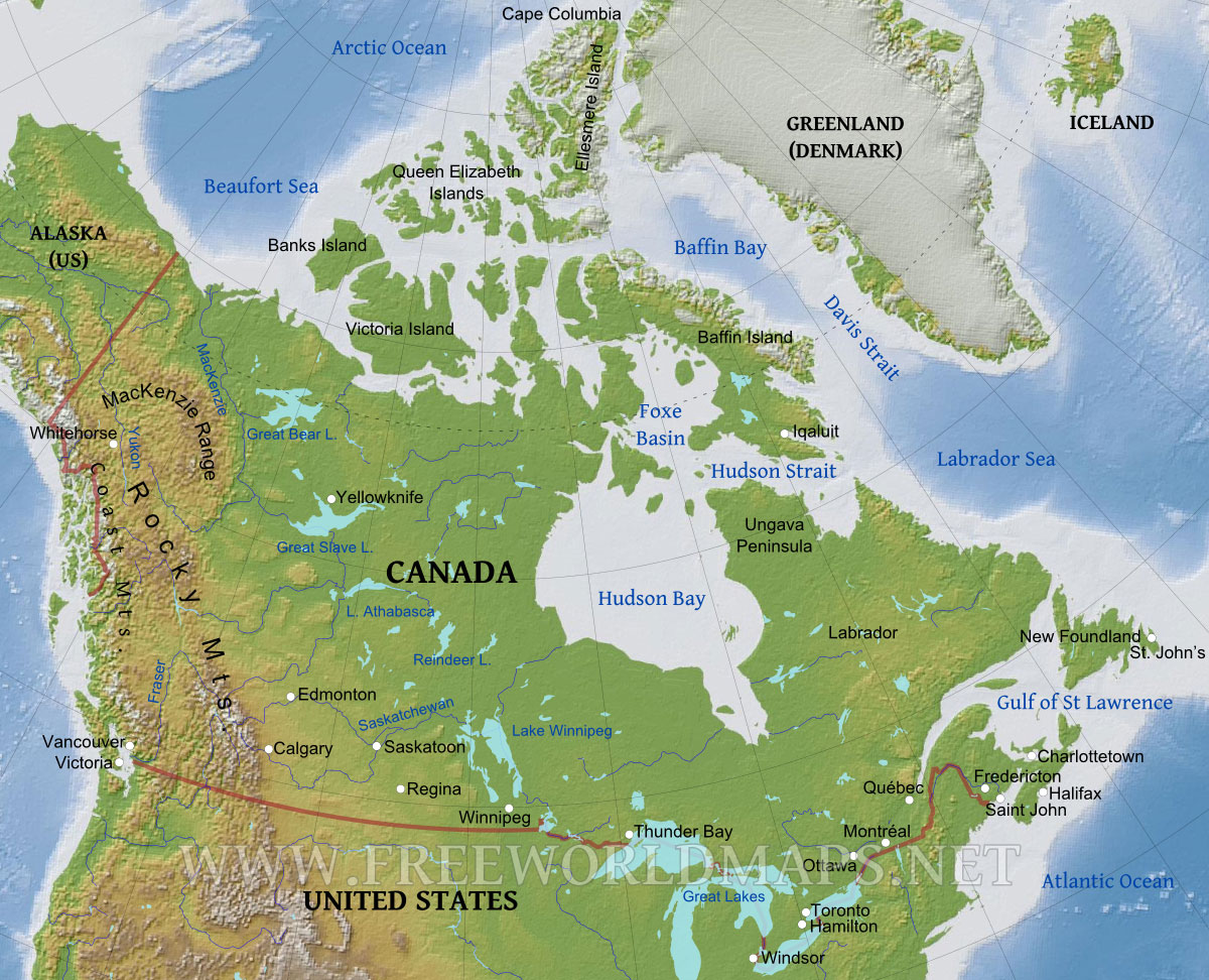 Image Canadamapphysicaljpg GTA Wiki FANDOM Powered By Wikia - Us and canada physical map