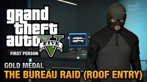 GTA 5 - Mission 68 - The Bureau Raid (Roof Entry) First Person Gold Medal Guide - PS4