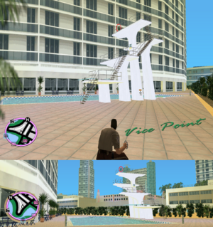 GTAVC HiddenPack 33 top diving tower E. of crescent hotel