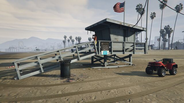 File:Lifeguard GTAVe Vespucci Watchtower with Blazer.jpg