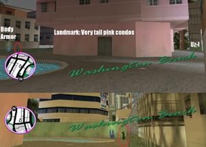 GTAVC HiddenPack 09 NE corner near pool of tall pink condos E of Hotel Harrison
