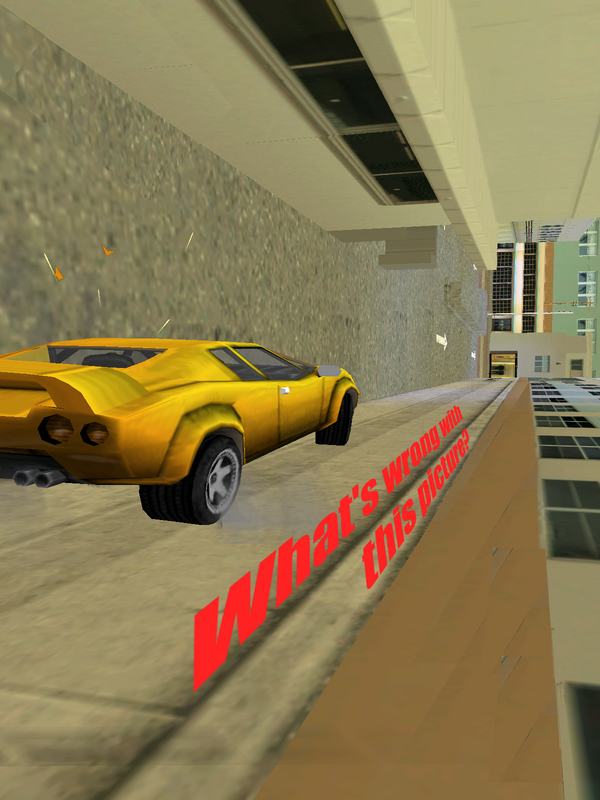 GTAVC What's wrong with this picture.yellow infernus wall for road