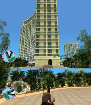 GTAVC HiddenPack 32 West point of crescent hotel esplinade in bushs