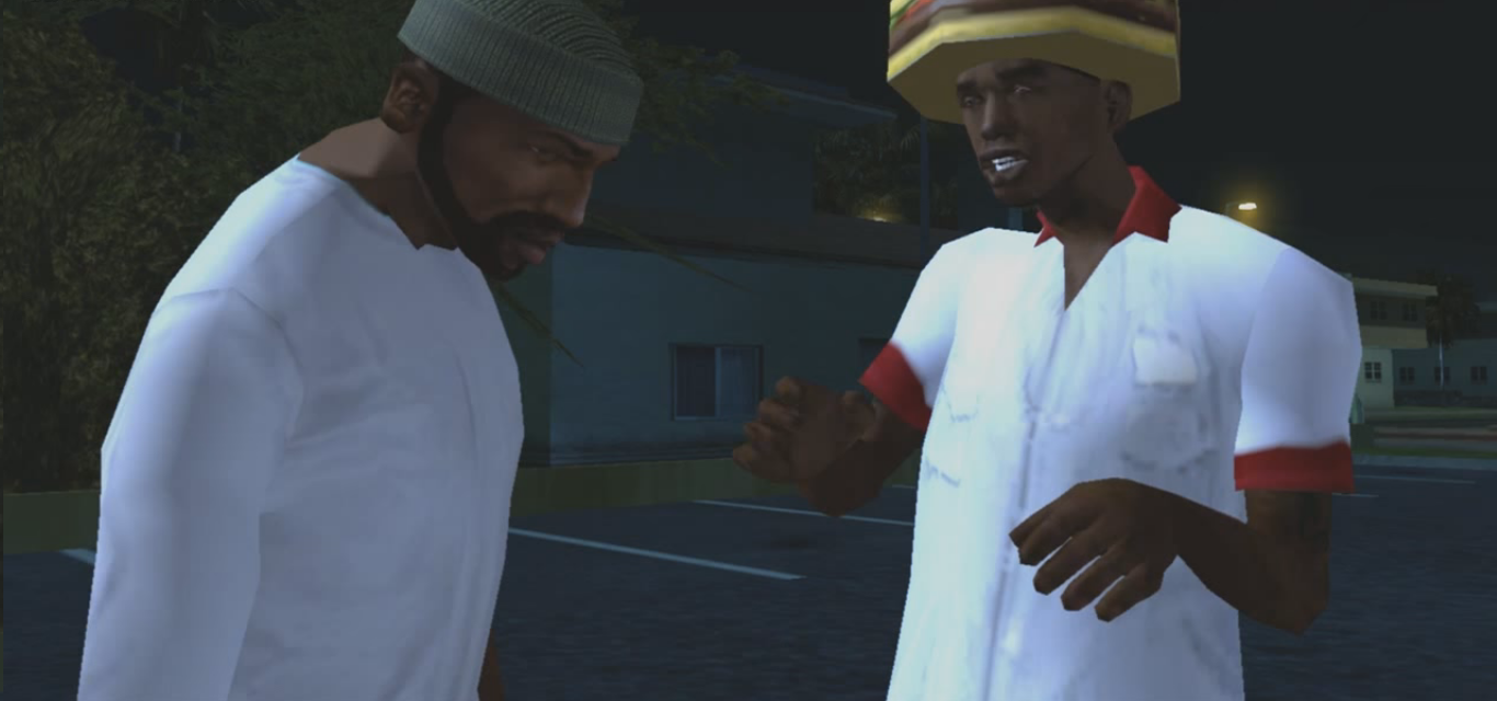 8f23e40b949 Carl Johnson and OG Loc meeting outside of the Burger Shot in Marina.