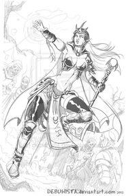 Elf sorceress rough sketch by debuhista-d5mrzb3