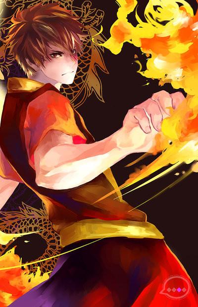 �артинки по запро�у anime guy with fire powers