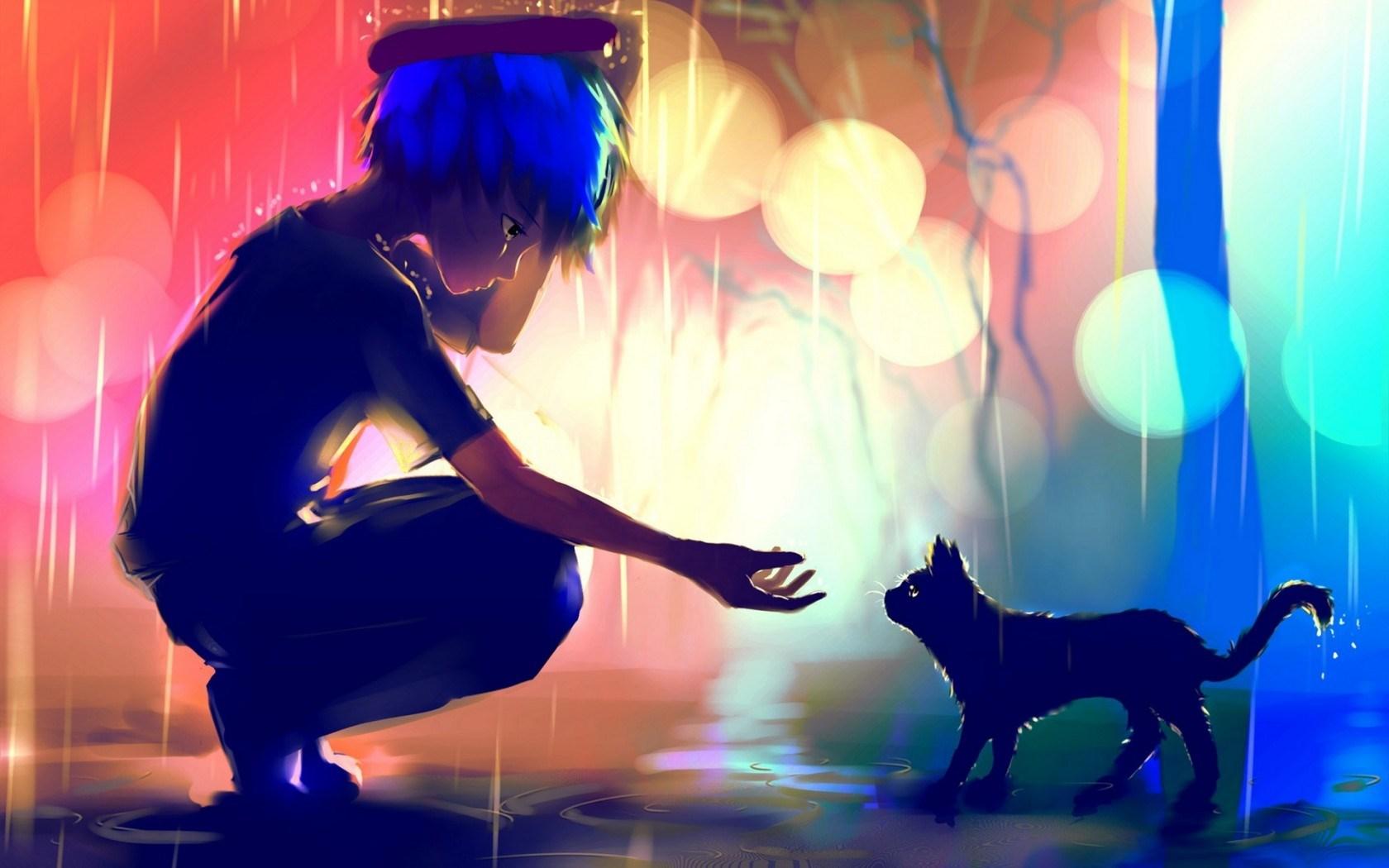 Art Boy Cat Rain Anime