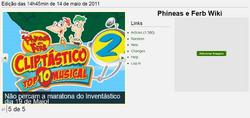Primiro visual da página inicial da Phineas e Ferb Wiki