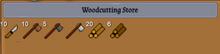 Woodcutting store dialogue