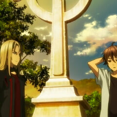 Shu and Gai at Kurosu's grave