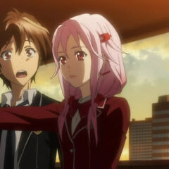 Inori enters Shu's home