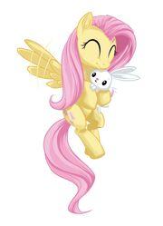 Fluttershy holding angel by mysticalpha-d4hfwxi