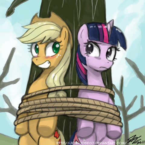 File:96418 - applejack artist-john joseco rope tied up twilight sparkle.png