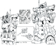 MS-06R-3S High Mobility Type Zaku Back and Front Lineart