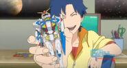 Haru finishes building Beginning Gundam