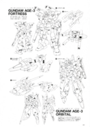Gundam AGE-3 Fortress and Orbital Lineart