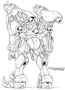 GB-9700 Gundam Belphagor Lineart Rear