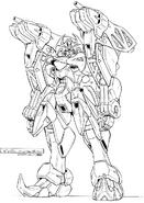 GB-9700 Gundam Belphagor Lineart Front