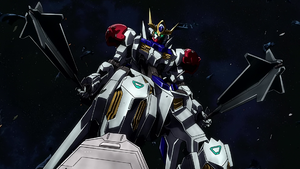 Gundam Barbatos standing over Sandoval Rueters fallen suit