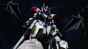 Gundam Barbatos standing over Sandoval Rueters fallen suit