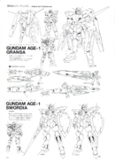 Gundam AGE-1 Swordia and Gransa Lineart