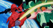 Sazabi destroys Jegan