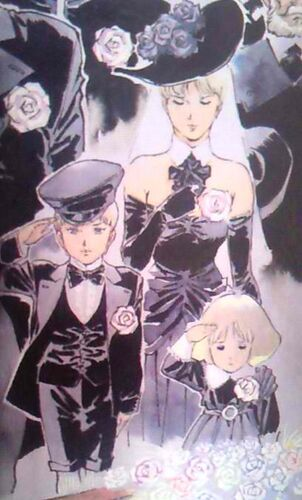 Astraia at Zeon Deikun's funeral, with children Casval and Artesia. (U.C. 0068)