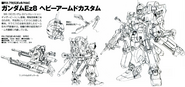RX-79Ez-8 HAC Gundam Ez8 Heavy Armed Custom Back and Front lineart