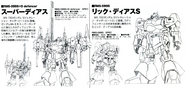 RMS-099S Rick Dias S and Defencer Back and Front lineart