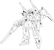 Lightning Gundam Full Burnern BW front lineart with high beam rifle