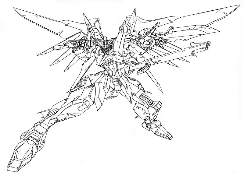 Image seed lineart the gundam wiki fandom for Gundam wing coloring pages