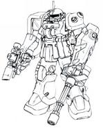 MS-06F-2 Zaku II (Rangefinder) lineart